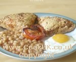 Brummie breakfast cake with eggs, beans and tomatoes
