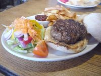 Top quality beef burger ans salad