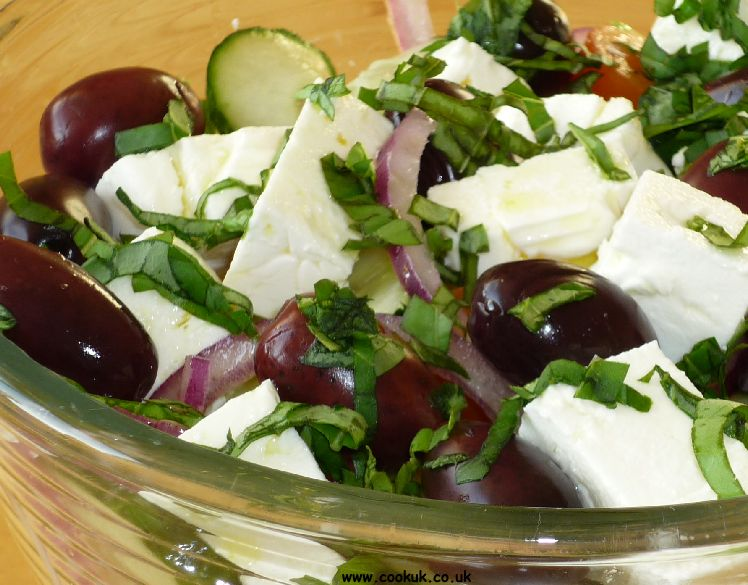 Greek salad in a bowl