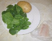 Ingredients for babu food meal haddock, spinach and potatoes