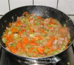 Minestrone vegetables being cooked