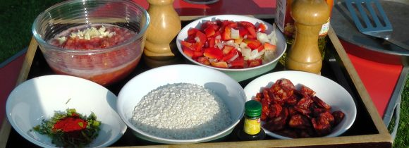 Ingredients for Pork and Chorizo Paella