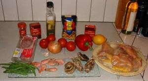 Paella ingredients. Click to enlarge.