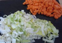 Chopped leeks and carrots