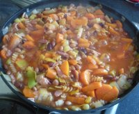 Cooking pasta, bacon and bean soup