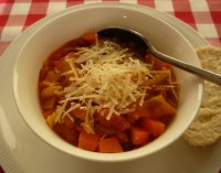 Pasta, bacon and bean soup