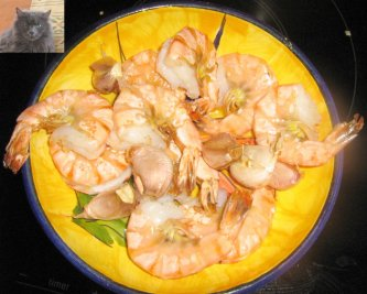 Tiger Prawns in parlic on a playe