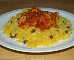 Golden rice with sultanas and almonds