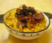 Chorizo and Mushroom Risotto served in a bowl