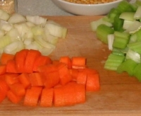 Split pea and ham soup vegetables chopped