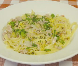 Tagliatelle with Bacon and Pork